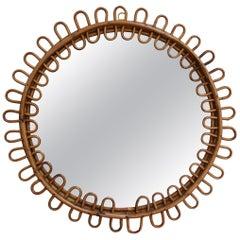 Mid-Century Italian Round Rattan Mirror, circa 1960s