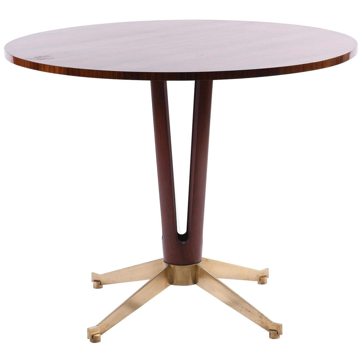 Midcentury Italian Round Table with Four-Lobed Base and Bronze Cast Feet