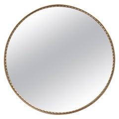 Mid-Century Italian Round Wall Mirror with Brass Frame, circa 1950s - Small