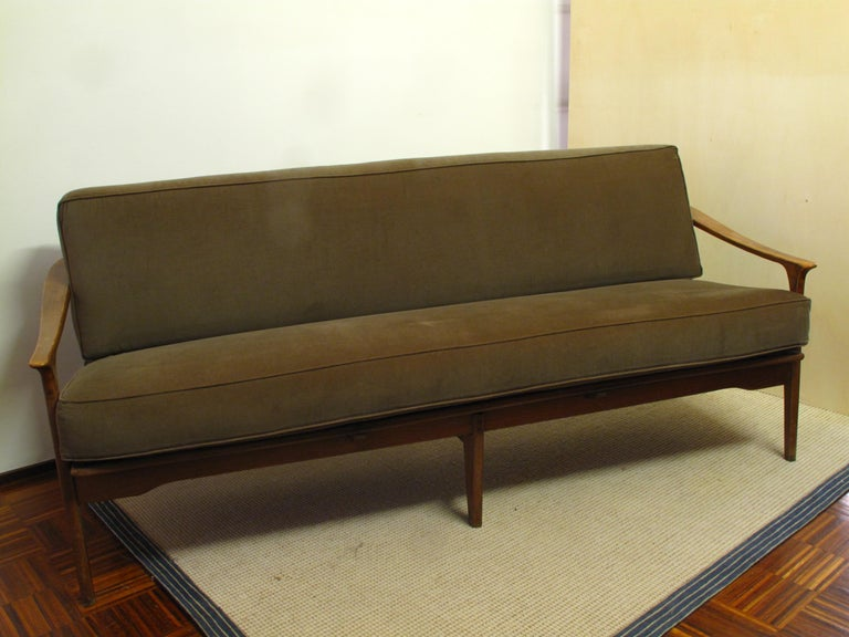 Mid-20th Century Midcentury Italian Sculpted Walnut Sofa and Pair of Armchairs Set, 1950s For Sale