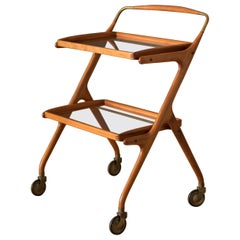 Midcentury Italian Sculptural Walnut and Brass Bar Cart by Cesare Lacca