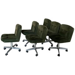 Midcentury Italian Set of 6 Chairs on Wheels with their Original Fabric, 1970s