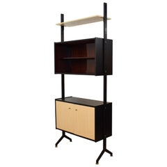 Midcentury Italian Shelf or Room Divider by BR Italia Metal and Wood, circa 1960
