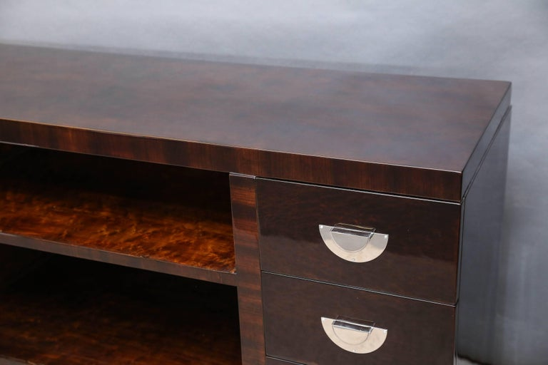 Chrome Midcentury Italian Sideboard or Book Case in Walnut For Sale