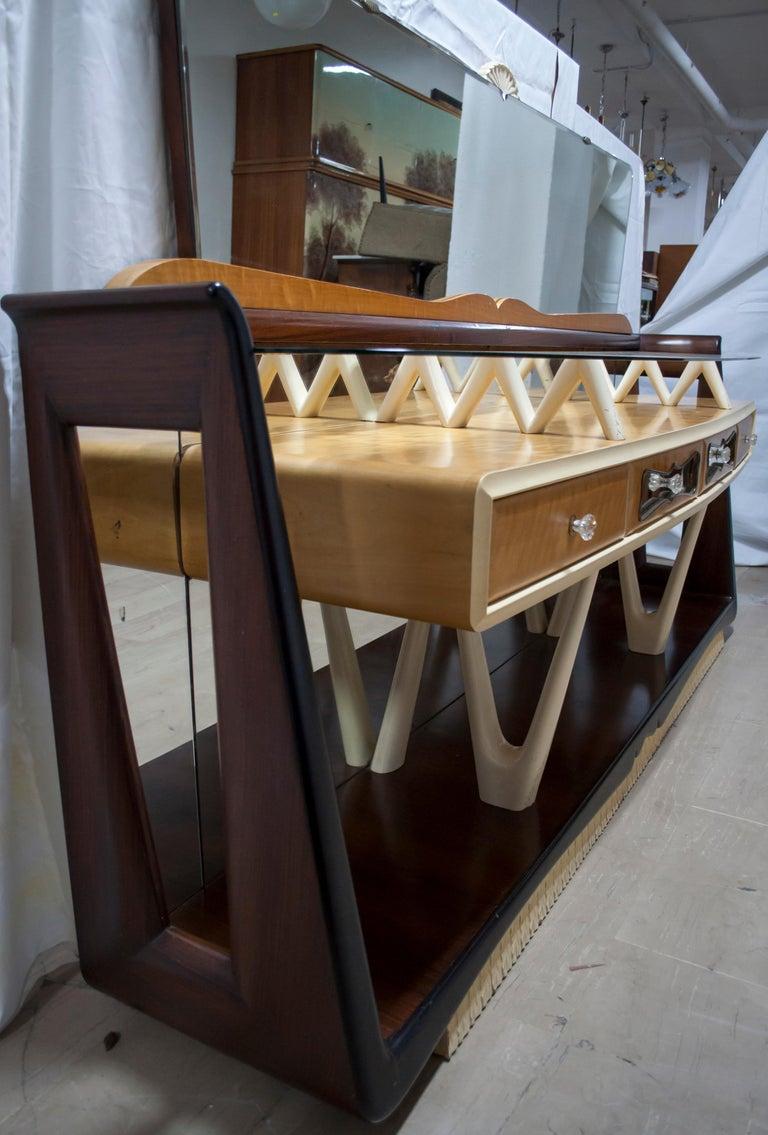 After Osvaldo Borsani Midcentury Italian Sideboard Console Table, 1950s For Sale 7