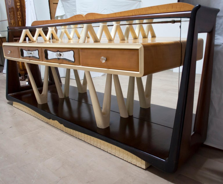 After Osvaldo Borsani Midcentury Italian Sideboard Console Table, 1950s In Good Condition For Sale In Cerignola, Italy Puglia