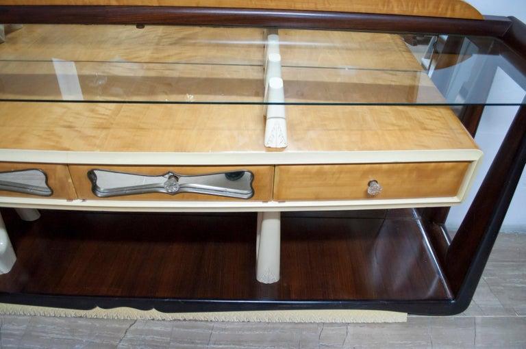 Glass After Osvaldo Borsani Midcentury Italian Sideboard Console Table, 1950s For Sale