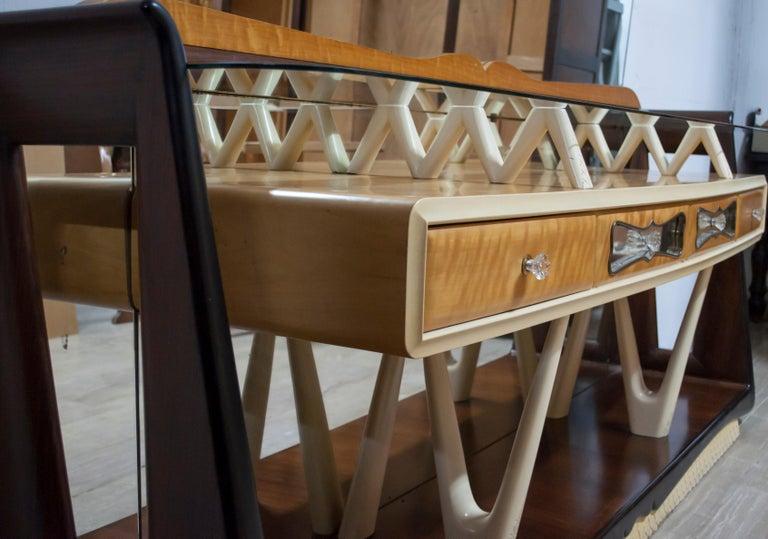 After Osvaldo Borsani Midcentury Italian Sideboard Console Table, 1950s For Sale 1