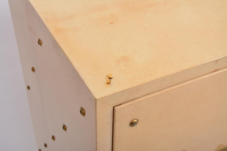 20th Century Midcentury Italian Sideboard in Beige Lacquered Goat Skin by Aldo Tura For Sale