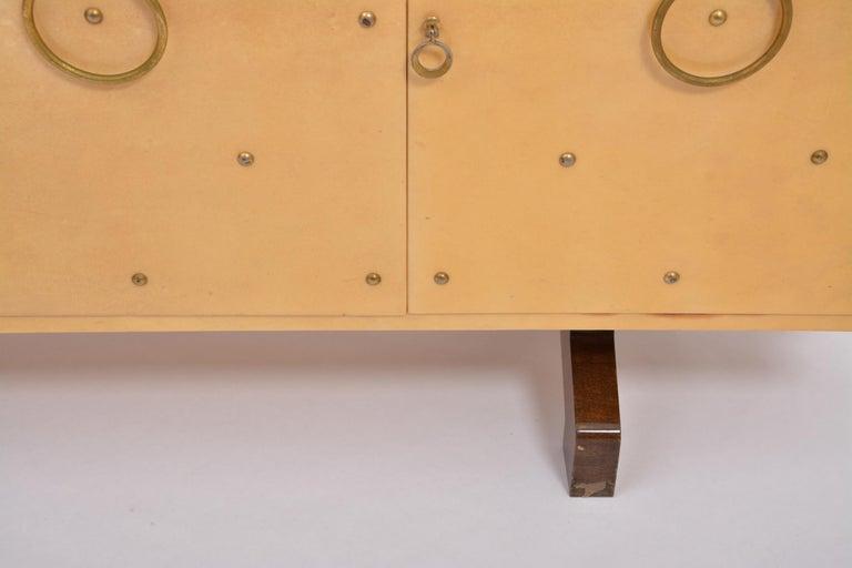 Goatskin Midcentury Italian Sideboard in Beige Lacquered Goat Skin by Aldo Tura For Sale