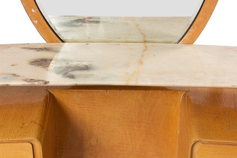 Midcentury Italian Silvio Cavatorta Maple Wood Vanity and Mirror For Sale 5
