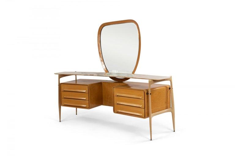 Mid-Century Modern Midcentury Italian Silvio Cavatorta Maple Wood Vanity and Mirror For Sale