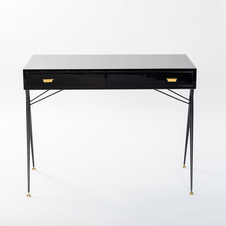 Mid-Century Modern Midcentury Italian Small Writing Desk Black Lacquer, Brass by Silvio Cavatorta For Sale