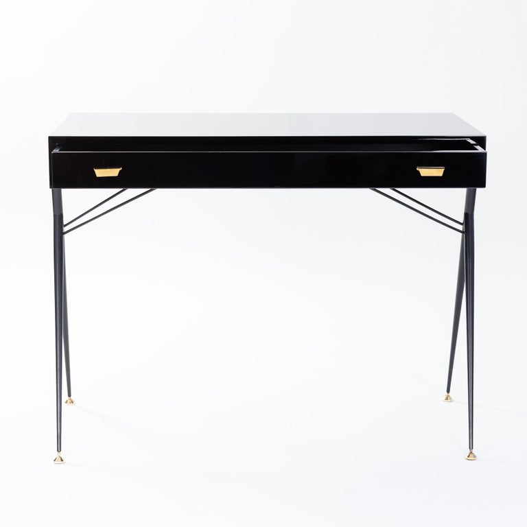Enameled Midcentury Italian Small Writing Desk Black Lacquer, Brass by Silvio Cavatorta For Sale