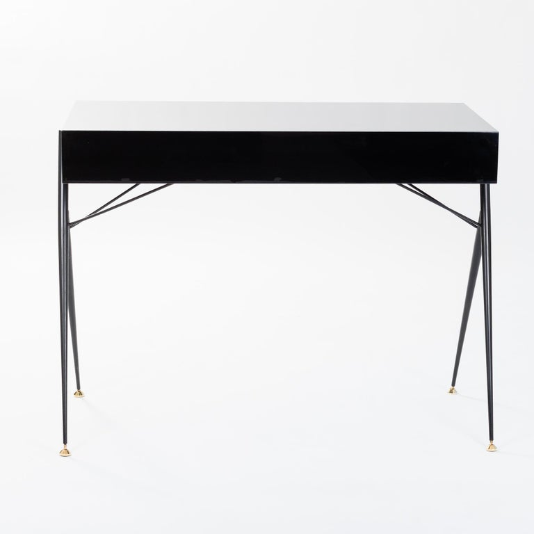 Mid-20th Century Midcentury Italian Small Writing Desk Black Lacquer, Brass by Silvio Cavatorta For Sale