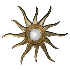 Mid-Century Italian Sunburst Convex Mirror