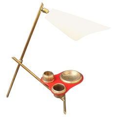 Midcentury Italian Table Lamp with Brass Stand, circa 1950s