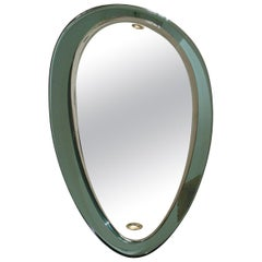 Mid Century Italian Teardrop Wall Mirror with Light Green Frame, Milano, 1950s