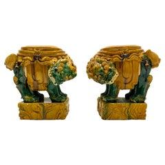 Midcentury Italian Terracotta Foo Dog Garden Seats, a Pair