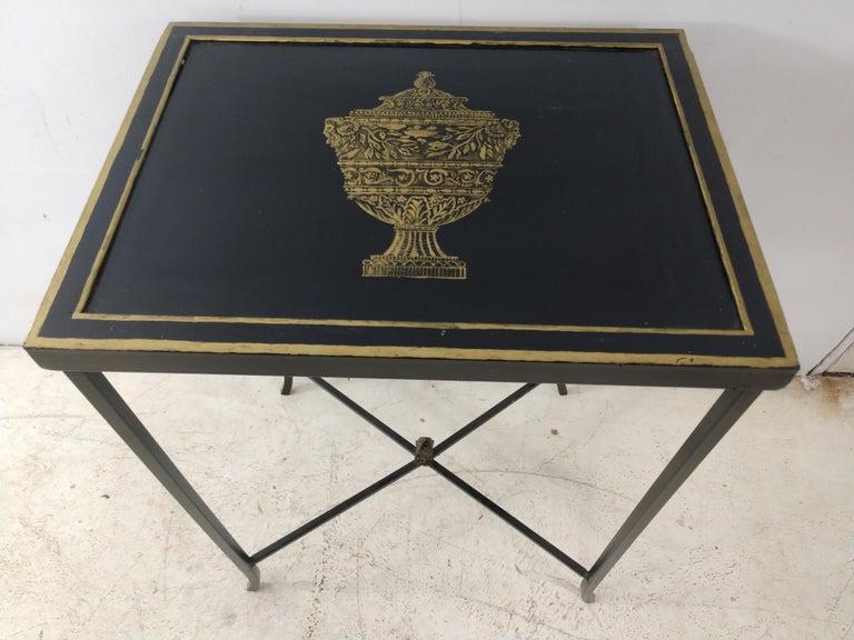 Neoclassical Mid Century Italian Toleware Side Table, circa 1960 For Sale