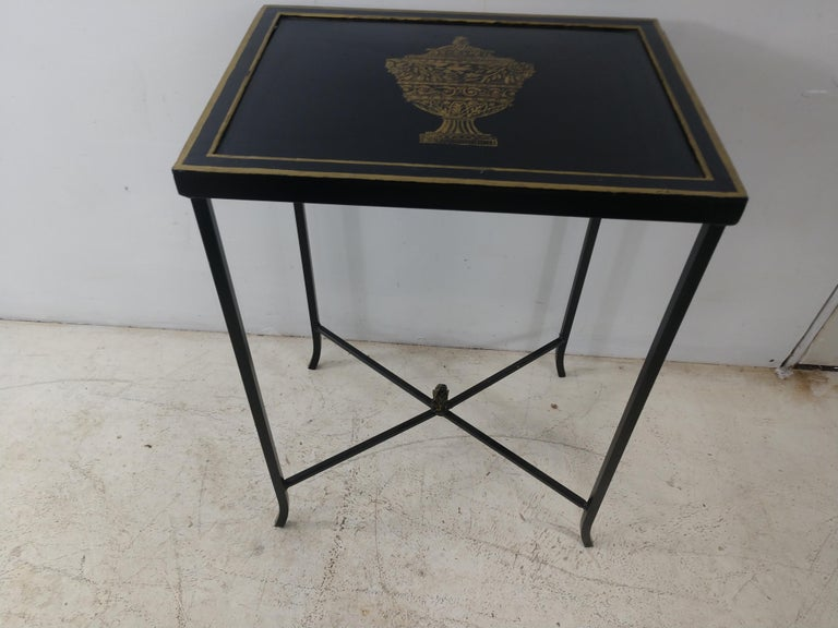 Hand-Painted Mid Century Italian Toleware Side Table, circa 1960 For Sale