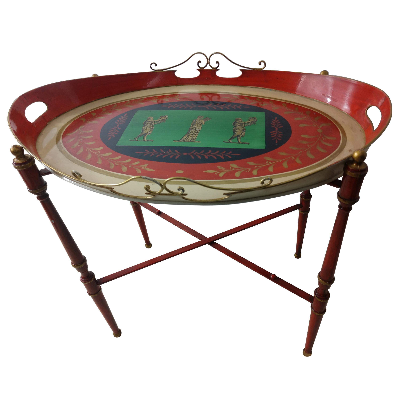 Mid Century Italian Toleware Side Tray Table, circa 1960
