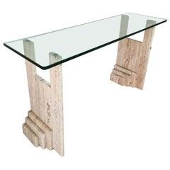 Mid-Century Italian Travertine Marble & Glass Console Table Att. Fontana Arte