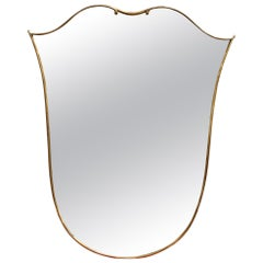 Midcentury Italian Tulip-Shaped Wall Mirror with Brass Frame, circa 1950s