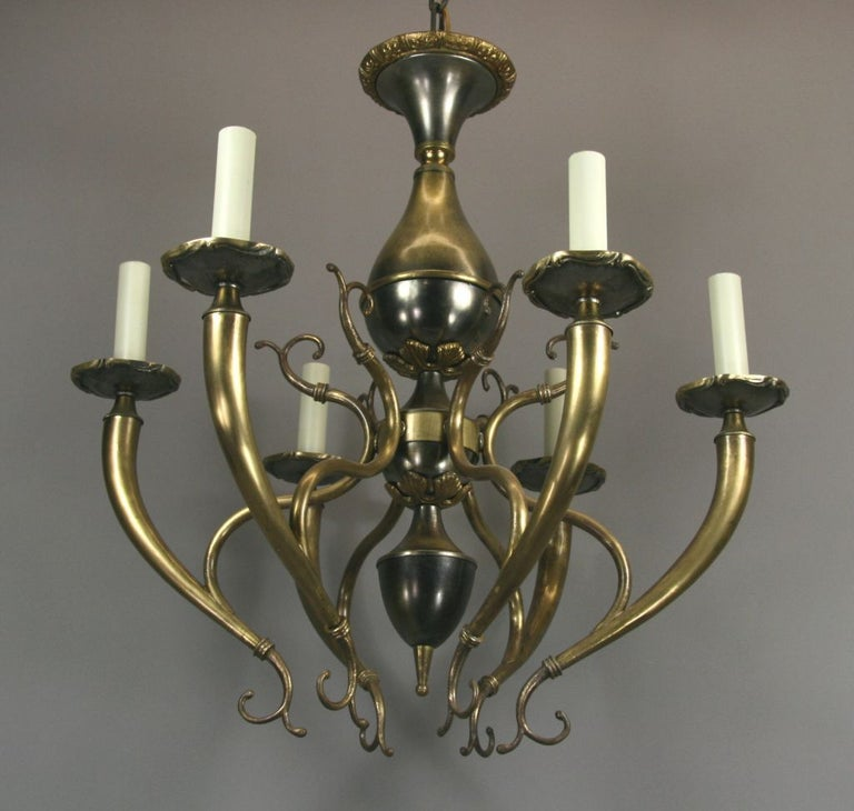 Mid-20th Century Midcentury Italian Two-Tone Chandelier For Sale