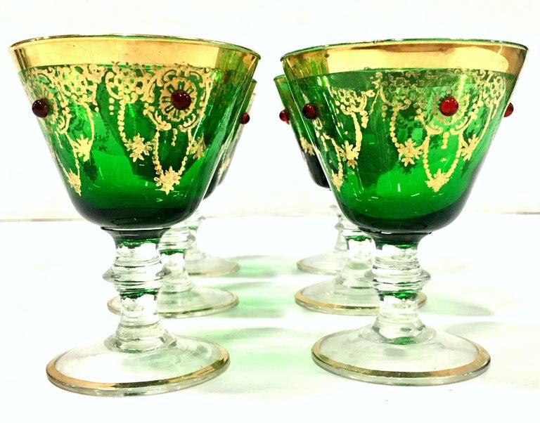 Mid-Century Italian Venetian Glass & 22 Karat Gold Drinks Set/7 For Sale 5