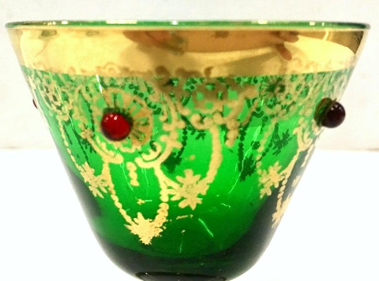 Mid-Century Italian Venetian Glass & 22 Karat Gold Drinks Set/7 For Sale 2