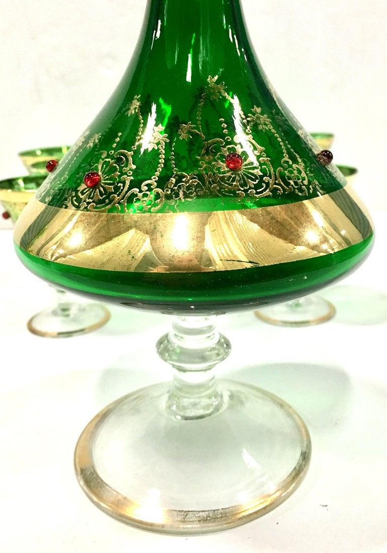 Mid-Century Italian Venetian Glass & 22 Karat Gold Drinks Set/7 In Good Condition For Sale In West Palm Beach, FL