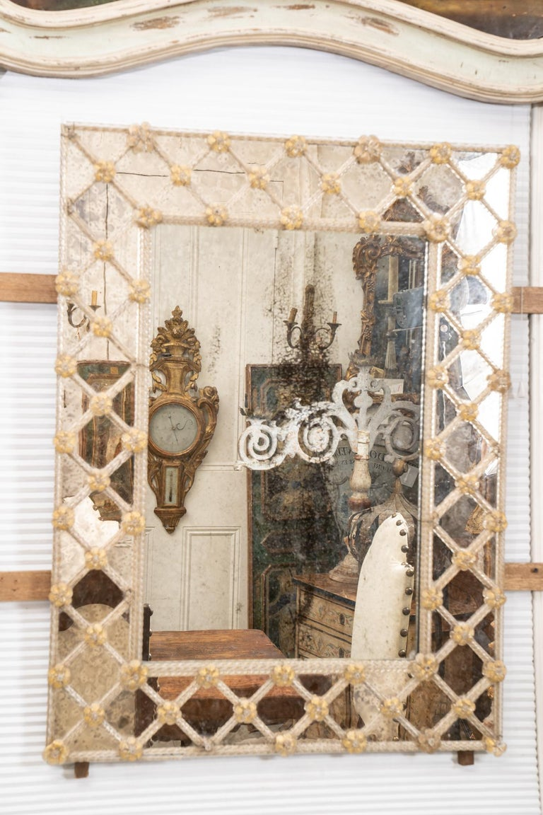 Beautiful Mid-Century Modern Murano Venetian mirror. Simply elegant mirror that will fit in with any decor.