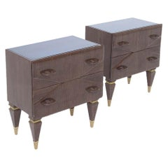 Mid Century Italian Vintage Nightstands in Wood and Blue Glass