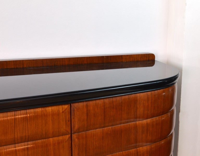 Mid-Century Modern Midcentury Italian Vittorio Dassi Wood Green Marble Credenza for Mobili Moderni For Sale