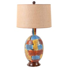 Midcentury Italian Volcanic Glazed Pottery Ceramic Table Lamp