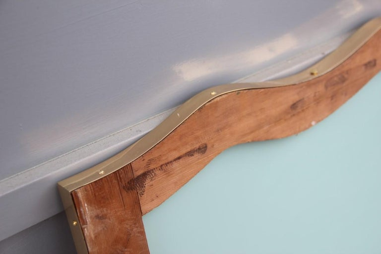 Midcentury Italian Wall Mirror with Corrugated Brass Frame Gold 1950 Horizontal For Sale 7