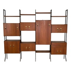 Mid Century Italian Wall Unit / Shelving System / Shelf in Teak and Metal, 1950s