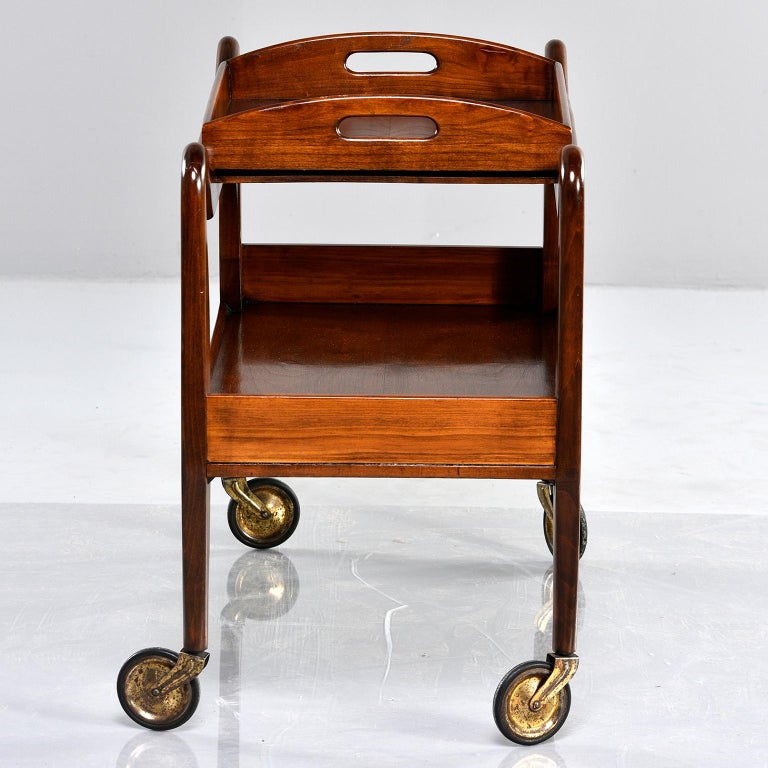 20th Century Midcentury Italian Walnut Trolley with Removable Tray