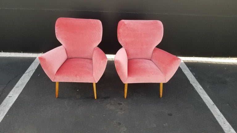 Mid-20th Century Midcentury Italian Wing-Shaped Side Chairs For Sale