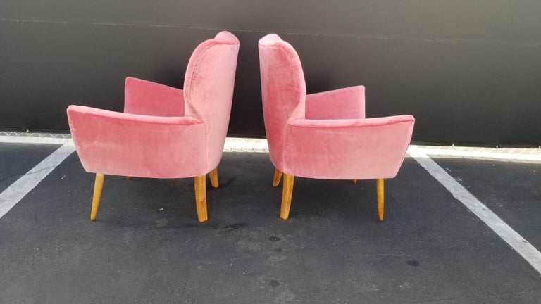 Velvet Midcentury Italian Wing-Shaped Side Chairs For Sale