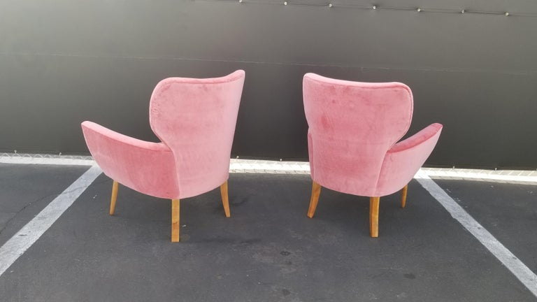 Midcentury Italian Wing-Shaped Side Chairs For Sale 2