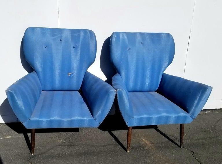 Midcentury Italian Wing-Shaped Side Chairs For Sale 3