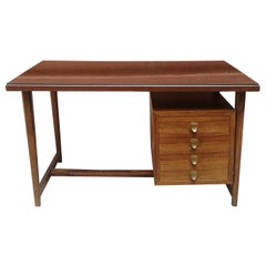 Midcentury Italian, Wood and Brass Desk with Glass Top, 1960s