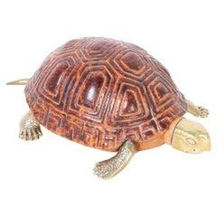Mid-Century Italian Wood and Brass Turtle or Tortoise