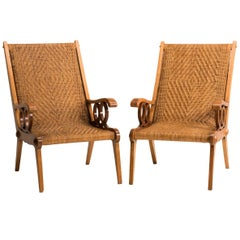 Midcentury Italian Wood and Original Woven Wicker Armchairs, Set of Two
