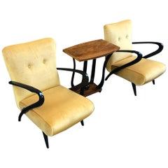 Midcentury Italian Yellow Velvet Black Wood Armrests Armchairs