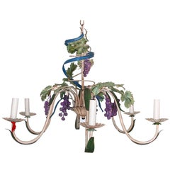 Midcentury Italianate Tuscan Toleware Grapevine Six-Arm Chandelier Polychromed