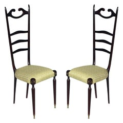 Midcentury Italy Pair of Mahogany Chiavari Chairs 1950s by Paolo Buffa Designer