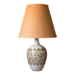 Mid Century Ivory Accent Pottery Lamp